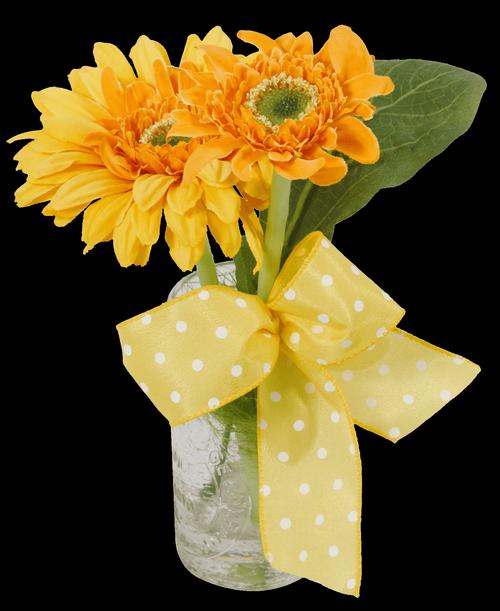 Silk Yellow Gerbera Daisy Bud Vase Us Retail Flowers Flowers